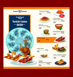 menu template of turkish cuisine restaurant vector image vector image