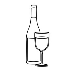 monochrome silhouette with bottle of wine and vector image vector image