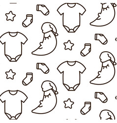 Newborn dreamy line icon monochrome pattern vector