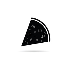 pizza slice black and white vector image