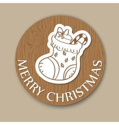 Round wood christmas greeting card vector