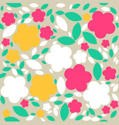 seamless retro geometric pattern with flowers vector image