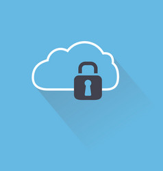 Secure digital cloud with lock vector