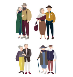 senior couples in love relationships with aged vector image