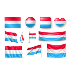 set luxembourg flags banners banners symbols vector image vector image