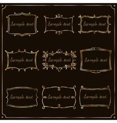Set of gold frames in vintage style vector