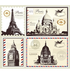 set of paris and london symbols vector image