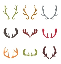 set of vintage deer antlers vector image vector image