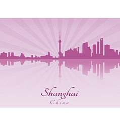 Shanghai skyline in purple radiant orchid vector image vector image