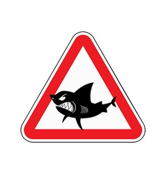 Sign of attention to shark Red triangle with vector image vector image