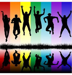 Silhouettes of young people jumping vector image vector image