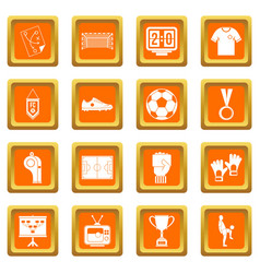 Soccer football icons set orange vector