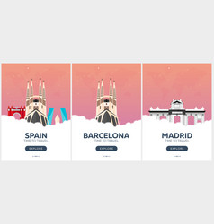 Spain time to travel set of travel posters vector