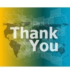 The word thank you on digital screen social vector image