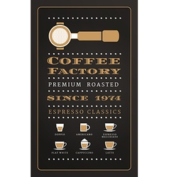 Vintage poster menu coffee factory in retro style vector image vector image