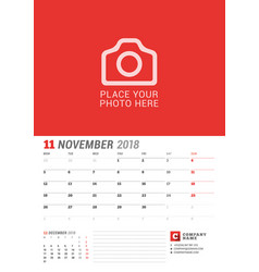 wall calendar planner for 2018 year november vector image