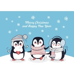 Merry christmas and happy new year poster penguins vector