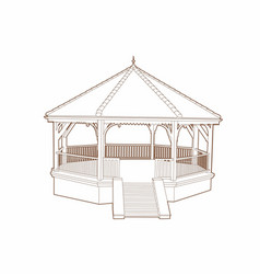 Wooden musical kiosk vector
