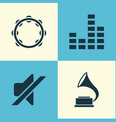 Music icons set collection of phonograph timbrel vector