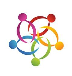 Teamwork support flower logo vector image