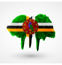 Flag of dominica painted colors vector