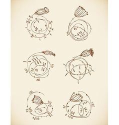Set of old cute vignettes vintage retro collection vector
