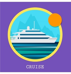 Cruise ship  retro styled vector