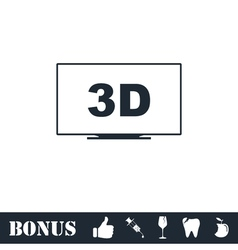 3d television icon flat vector