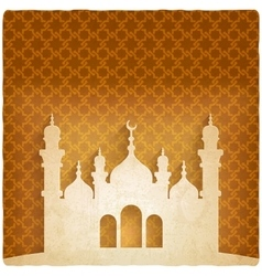 Ramadan kareem golden background with islamic vector
