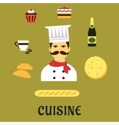 French national cuisine flat icons vector