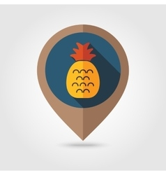 Pineapple flat mapping pin icon vector