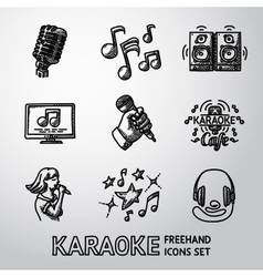 Set of karaoke singing freehand icons - microphone vector