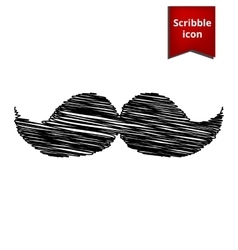 Set of moustaches icon with pen effect vector