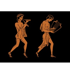Ancient greek musicians vector