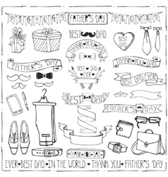 Fathers day decor set hand drawing ribbonslinear vector