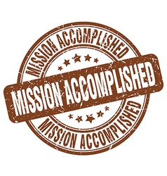 Mission accomplished brown grunge round vintage vector
