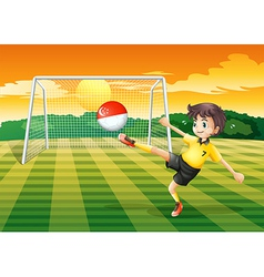 A female soccer player kicking the ball with the vector