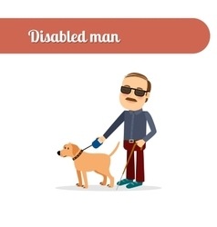 Blind man with dog vector image vector image