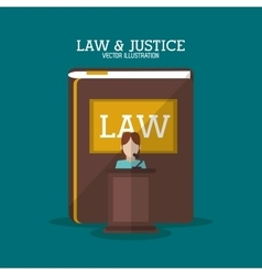 Book and witness of law and justice design vector