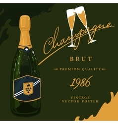 Bottle of champagne with two glasses poster vector