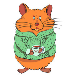 Cartoon image of cute hamster vector