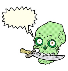 Cartoon pirate skull with knife in teeth with vector