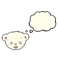 Cartoon polar bear face with thought bubble vector
