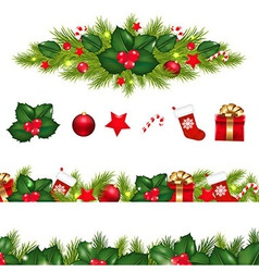 Christmas Borders Set With Xmas Garland vector image