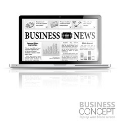 Concept - digital news laptop with business news vector
