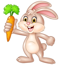 Cute bunny holding carrot isolated vector image