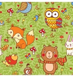 Cute seamless pattern with forest animals vector