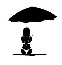 girl in bikini black silhouette vector image vector image