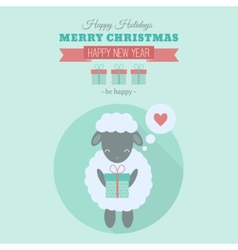 New Year card with sheep in flat vector image