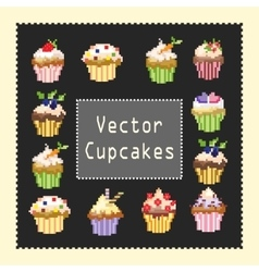 pixeled cupcakes vector image